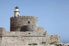 Agio-Nicolaos-Festung auf dem Hafen von Rhodos stockfotos