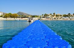 Koukla beach, Zakynthos. Agio Sostis, Greece - July 22, 2017: Pontoon on the Koukla beach, island Zakynthos, Greece royalty free stock image