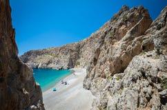 Agiofarago-Strand, Kreta-Insel, Griechenland Stockbilder