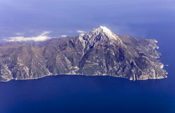 Mount Athos, Greece, aerial view Royalty Free Stock Images