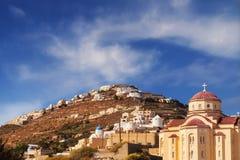 Agios Charalampos church in Exo Gonia village, Santorini stock images