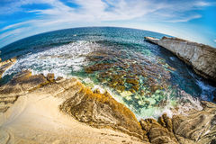 Agios Georgios Alamanos Beach Limassol område, Cypern Arkivfoton