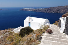 Agios Georgios-kerk, Santorini Stock Foto's