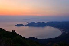 Agios Georgios Sunset, Korfu, Griekenland Stock Foto's