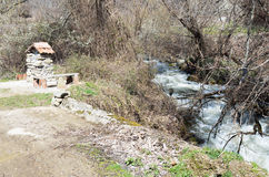 Agios Germanos river in early spring. Agios Germanos, the largest of the rivers in Greek Prespa ,empties into Great Prespa royalty free stock photography