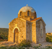 Agios Ioannis prodromos chapel, Sounio, Greece. A HDR fused photo created from 3 exposures of Agios Ioannis prodromos chapel, Sounio, Greece stock photography