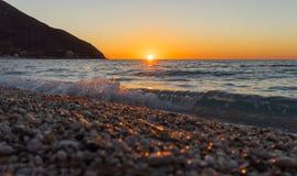 Agios Ioannis-Sonnenuntergang Lizenzfreies Stockbild