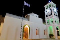 agios kyrktar spiridon för den greece milosnatten Arkivfoto