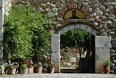 Agios Loukas. Entrance to the church at old Greek monastery of Agios Loukas at sunny summer day Stock Image