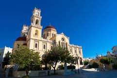 The Agios Minas Cathedral. Heraklion city on the island of Crete, Greece. Royalty Free Stock Images