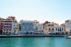 Agios Nicolaos city center Royalty Free Stock Image