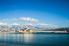 Agios Nicolaos harbor. Agios Nicolaos -Crete harbor, yacht Stock Photos