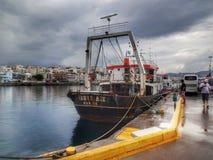 Agios Nicolaos. HDR boat in Greece Stock Image