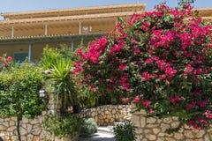 AGIOS NIKITAS, LEFKADA, GRECIA 16 DE JULIO DE 2014: Casas tradicionales en el pueblo de Agios Nikitas, Lefkada, Grecia Fotografía de archivo libre de regalías