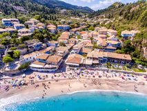 Agios Nikitas Lefkada Island, Greece. Lefkada island is a very popular travel destination for tourists in Greece in the summer and is also known as Lefkas or stock photos