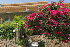 AGIOS NIKITAS, LEFKAS, GRIECHENLAND AM 16. JULI 2014: Traditionelle Häuser im Dorf von Agios Nikitas, Lefkas, Griechenland Lizenzfreie Stockfotografie