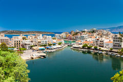 Agios Nikolaos. Artificial bay (former lake). Crete, Greece Stock Photography