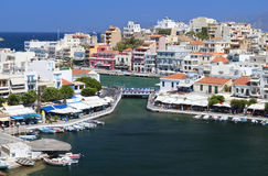 Agios Nikolaos city at Crete, Greece stock image