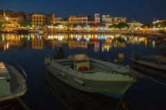 Agios Nikolaos City at Night, Crete, Greece Stock Image