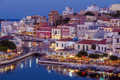 Agios Nikolaos City at Night, Crete, Greece Stock Images