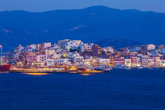 Agios Nikolaos City at Night, Crete, Greece Royalty Free Stock Images
