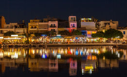 Agios Nikolaos City at Night, Crete, Greece Stock Photos