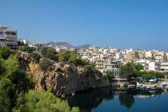 Agios Nikolaos Crete, Grecja,/ Agios Nikolaos jest miejscowość wypoczynkowa w Crete i nabrzeżny fotografia royalty free
