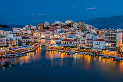 Agios Nikolaos, Crete, Greece. Agios Nikolaos is a picturesque town in the eastern part of the island Crete built on the northwest side of the peaceful bay of Royalty Free Stock Photography