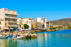 Agios Nikolaos Crete Greece Waterfront Photo libre de droits