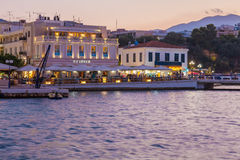 AGIOS NIKOLAOS, CRETE - JULY 28, 2012: The lively evening street Royalty Free Stock Image