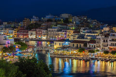 AGIOS NIKOLAOS, CRETE - JULY 30, 2012:  Tourists relax in the ou Stock Image