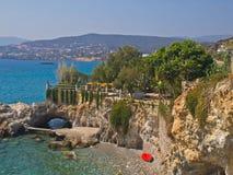 Agios Nikolaos-Crete te souhaite la bienvenue dans un moderne Image stock