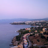 Agios Nikolaos at the evening. royalty free stock photo