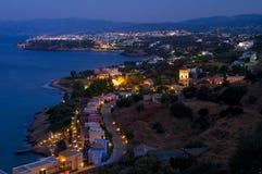 Agios Nikolaos at the evening. stock photo