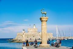 Agios Nikolaos forteca i rogacz, Rhodes stary miasteczko, Grecja Obrazy Royalty Free