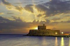 Agios Nikolaos forteca na Mandraki schronieniu Rhodes Obrazy Royalty Free