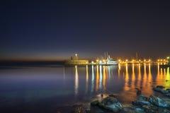Agios Nikolaos forteca na Mandraki schronieniu Rhodes Obraz Royalty Free