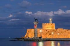 Agios Nikolaos forteca na Mandraki schronieniu Rhodes Fotografia Royalty Free
