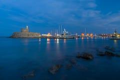 Agios Nikolaos forteca na Mandraki schronieniu Rhodes Zdjęcia Royalty Free