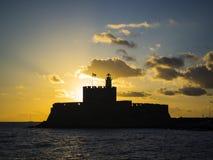 Agios Nikolaos forteca na Mandraki schronieniu Rhodes Grecja Zdjęcia Royalty Free