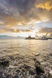 Agios Nikolaos forteca na Mandraki schronieniu Rhodes Grecja Fotografia Royalty Free