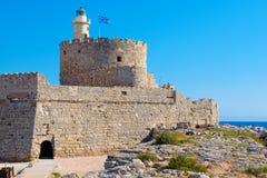 Agios Nikolaos forteca Rhodes, Grecja Fotografia Stock