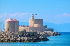 Agios Nikolaos forteca Rhodes, Grecja Zdjęcia Royalty Free