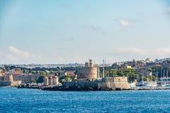 Agios Nikolaos forteca, Rhodes stary miasteczko, Grecja Obraz Stock