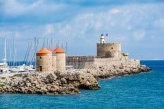 Agios Nikolaos forteca, Rhodes stary miasteczko, Grecja Zdjęcia Royalty Free