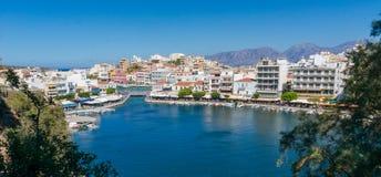 AGIOS NIKOLAOS GRECJA, LIPIEC, - 20, 2014: Agios Nikolaos Obrazy Stock