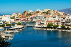AGIOS NIKOLAOS GRECJA, LIPIEC, - 20, 2014: Agios Nikolaos Fotografia Stock