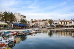 AGIOS NIKOLAOS, GRECJA - OKOŁO MAJ 2008: Panoramiczny widok nadbrzeże Agios Nikolaos, Crete wyspa, Grecja, około Maj 2008 Obrazy Royalty Free