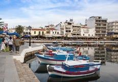 AGIOS NIKOLAOS, GRECJA - OKOŁO MAJ 2008: Panoramiczny widok nadbrzeże Agios Nikolaos, Crete wyspa, Grecja, około Maj 2008 Fotografia Stock
