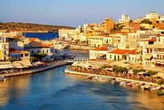 Agios Nikolaos i Voulismeni jezioro w Crete wyspie, Grecja Fotografia Royalty Free